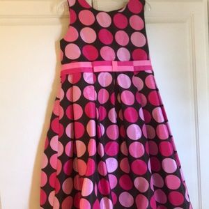 Pink and black polka dot party dress. Size 6X